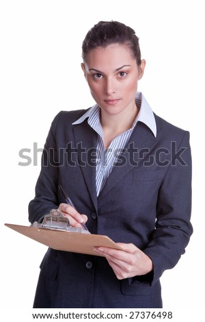 Female businesswoman holding a clipboard and pen conducting a survey, isolated on white background - stock photo