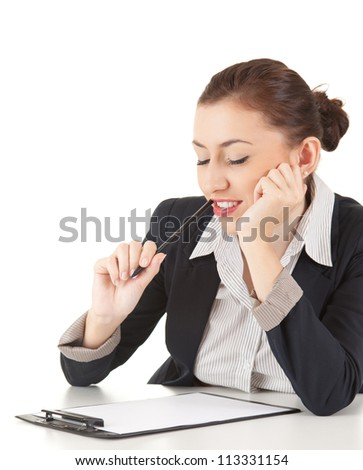 female businesswoman with clipboard and pen, white background - stock photo