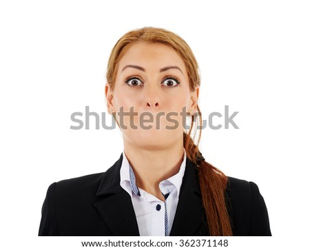 Female businesswoman without her mouth and with a shock expression - stock photo