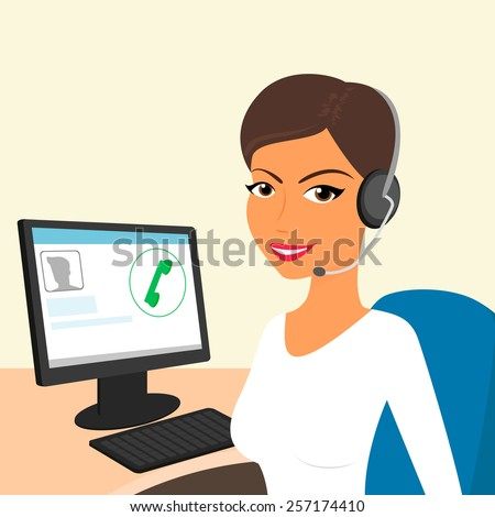 Female call centre operator with headset sitting in the office. - stock photo