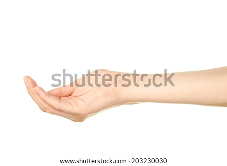 Female caucasian copyspace hand gesture of an opened, slightly bent, holding something palm isolated over the white background - stock photo