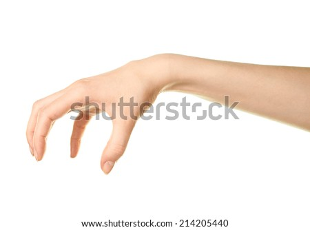 Female caucasian copyspace hand gesture of holding something isolated over the white background - stock photo