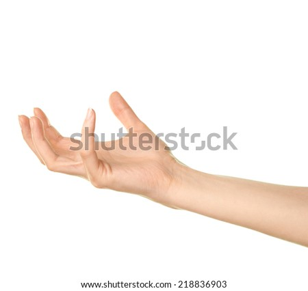 Female caucasian copyspace hand gesture of holding something isolated over the white background
