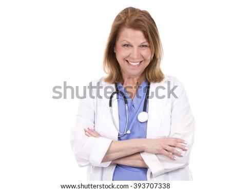 female caucasian doctor posing on white isolated background - stock photo