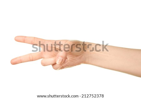 Female caucasian hand gesture of a two finger victory sign isolated over the white background - stock photo