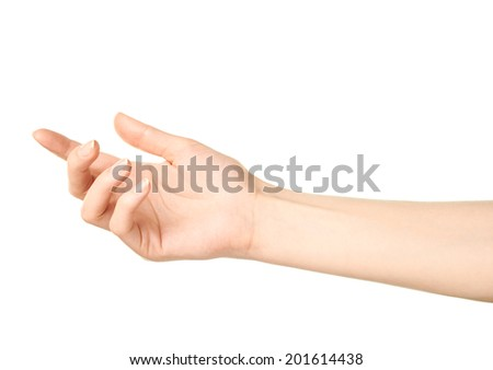 Female caucasian hand gesture of offering help isolated over the white background - stock photo