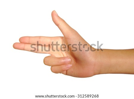 Female caucasian hand gesture of two pointing fingers isolated on white background. Gun concept - stock photo