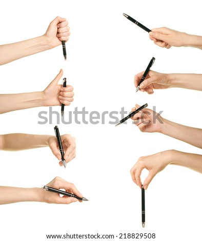Female caucasian hand holding black pen, isolated over the white background, set of eight images - stock photo
