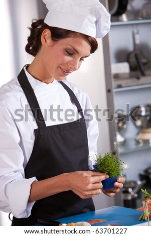 Female chef picking some garnish to use as decoration on her amuse - stock photo