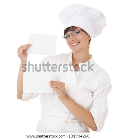 female chef with empty cards, white background - stock photo