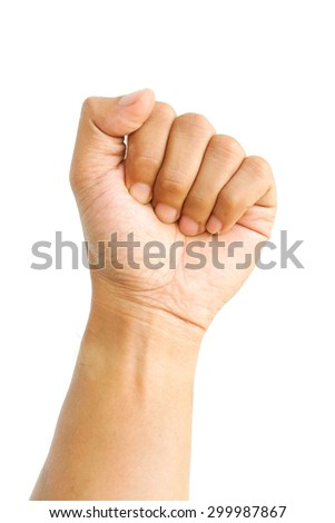 Female clench one's hand isolated on white background