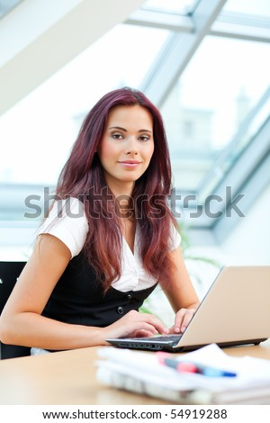 female clerk with laptop sitting in office