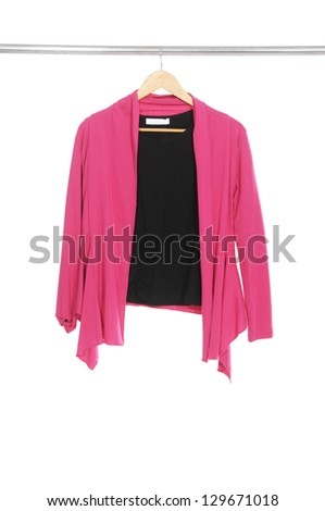 female clothes on a hanger isolated - stock photo