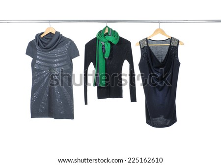 female clothing hanging a on display  - stock photo