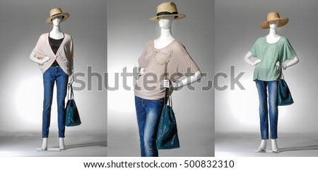 female clothing in hat with jeans ,bag on three  mannequin-light background