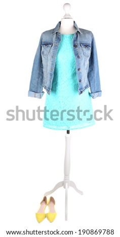 Female clothing on mannequin isolated on white