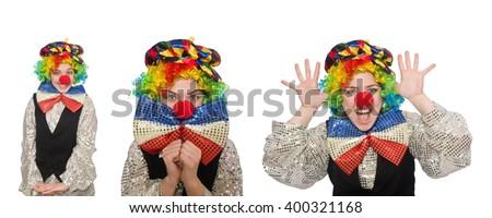 Female clown isolated on white - stock photo