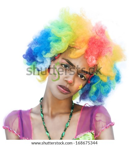 Female Clown with Spoiled Expression - stock photo