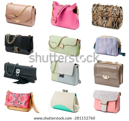 Female clutches collection isolated on white background. - stock photo