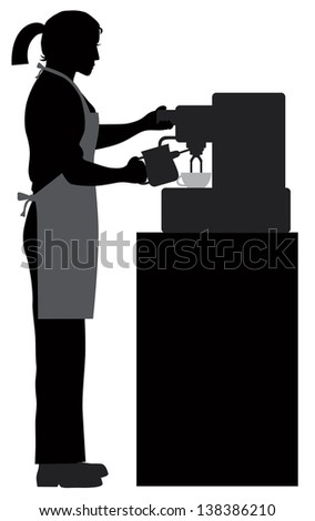 Female Coffee Bartender Barista Silhouette Making Espresso and Steaming Milk with Espresso Machine Raster Vector Illustration