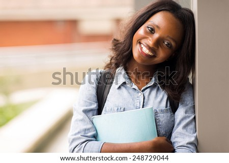female college student closeup portrait - stock photo