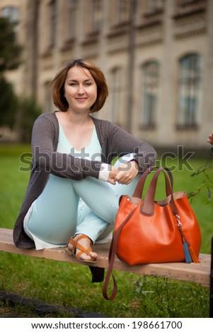 Female college student. Happy girl in european university - stock photo