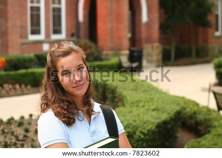 Female college student on campus