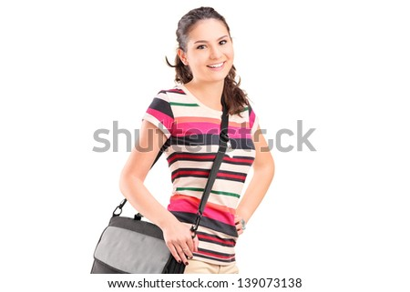 Female college student with a shoulder bag isolated on white background - stock photo