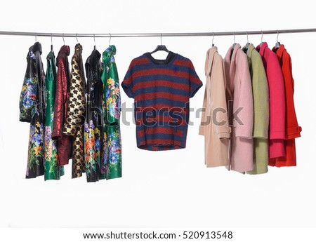 female colorful clothing ,sundress, coat on display