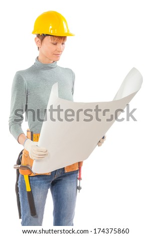 female construction worker holding and see blue print - stock photo