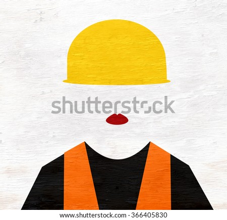 female construction worker on wood grain texture - stock photo