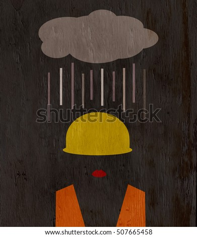 female construction worker with cloud raining on head on wood grain texture