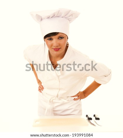 female cook in uniform, white background