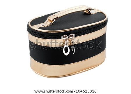 Female cosmetic bag for accessories isolated on white