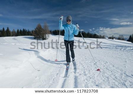 Female cross-country skier - stock photo