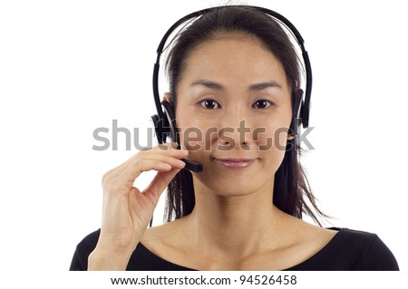 Female customer service operator isolated over white background