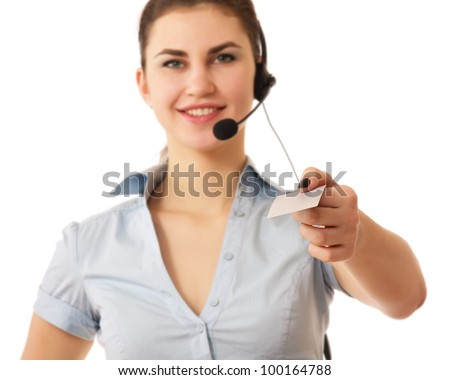 Female customer service operator showing white empty blank business card