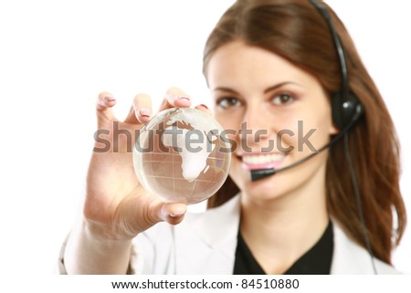 Female customer service operator with glass earth  isolated on white