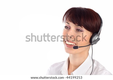 Female customer service representative smiling, isolated on white background.