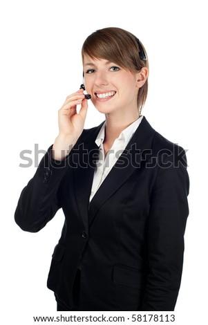 Female customer service representative smiling. Isolated on white background - stock photo