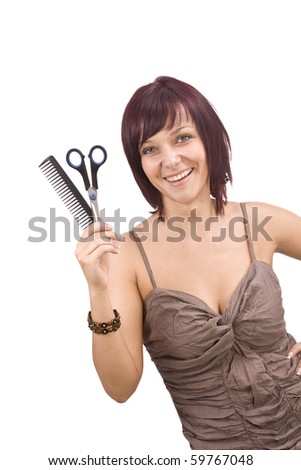 Female cutting and beautifying herself  isolated