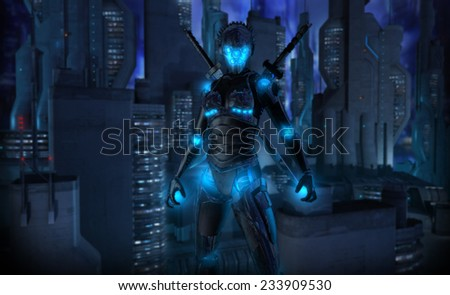 Female cyborg character - stock photo