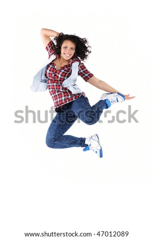 Female dancer jumping, isolated - stock photo