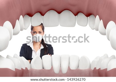 Female dentist looking into mouth with white background - stock photo