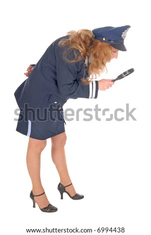 Female detective  police officer investigating crime scene with magnifying glass. White background