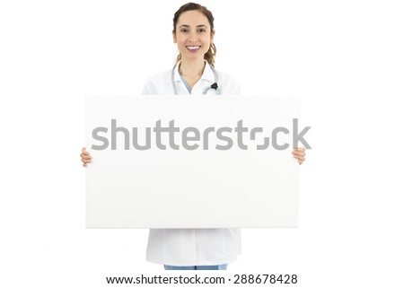 Female doctor holding a blank advertising banner