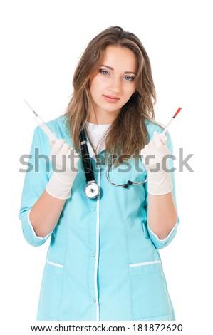 Female doctor holding a syringe, isolated on white background  - stock photo