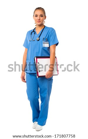 Female doctor holding file and clipboard - stock photo