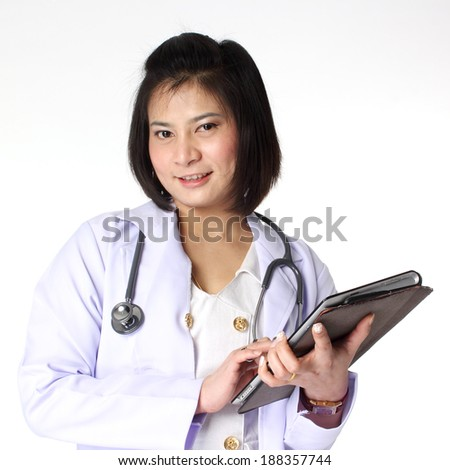 Female doctor holding Tablet Isolate on white background