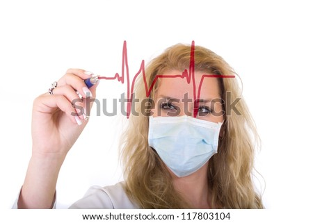 Female doctor in medical mask writing a cardiogram over white - stock photo